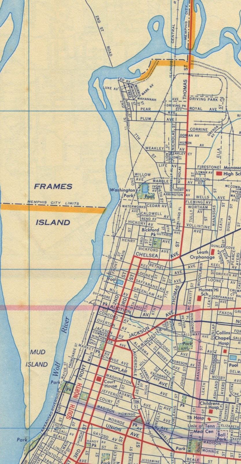 this 1958 map reflects that only the southern portion of mud island was mud island its northern area was called frames island