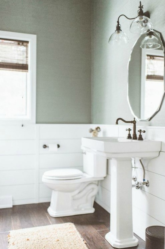 New Although I do love the look of this half bath created by Joanna Gaines of Fixer Upper fame To me this space feels like it has a little Ralph Lauren