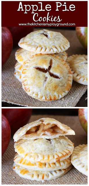 Apple Pie Cookies ~ Loaded with homemade apple pie filling, these cookies are a perfect fall sweet treat! Make a batch for tailgating, game day nibbling, after school snacking, or toss them in as a lunchbox treat. #cookies #applecookies #applepie  www.thekitchenismyplayground.com