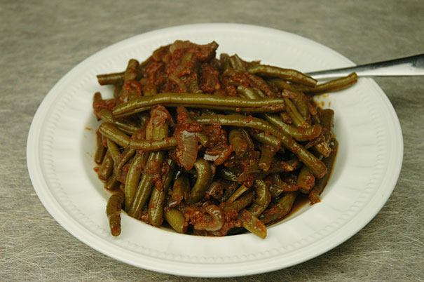 Lebanese Green Beans in A serving Dish