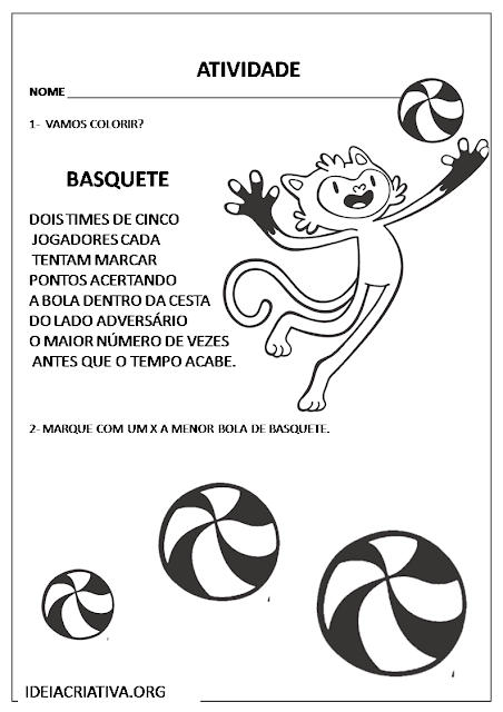 Atividade Conceitos Maior e Menor Olimpíadas Rio 2016