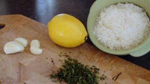 Ingredients For The Cambozola Sauce. Garlic, thyme, lemon, parmigiano and cambozola cheese