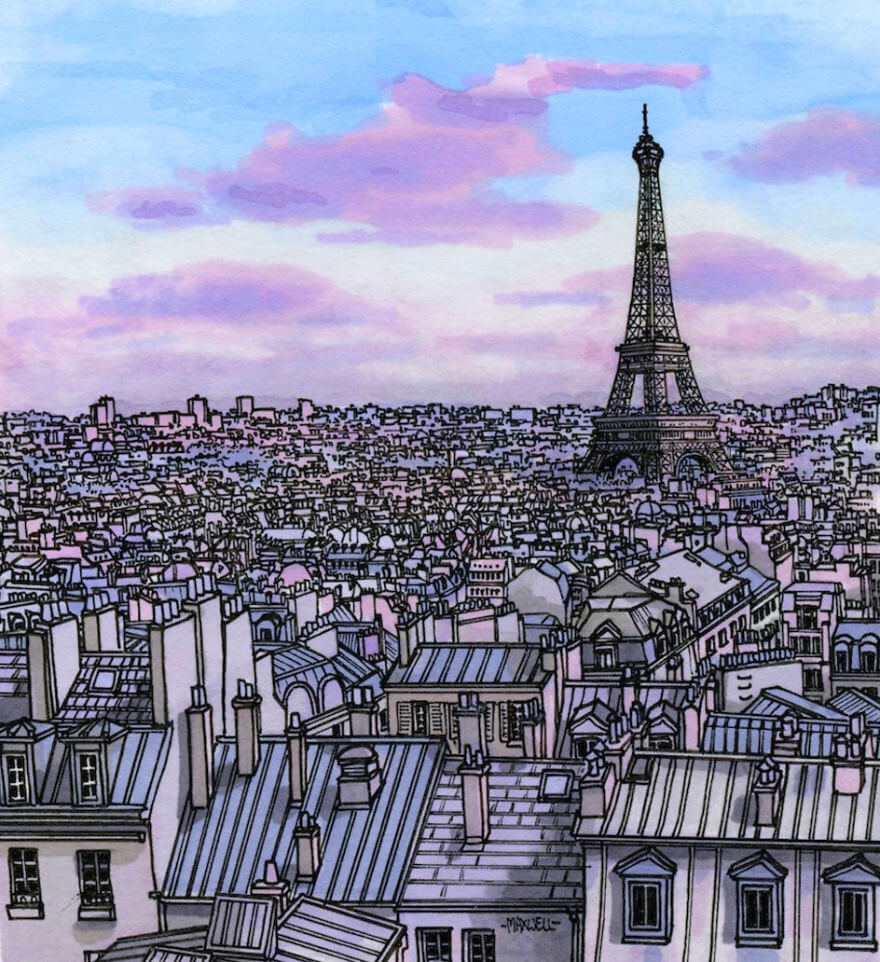 13 Artistic Illustrations Of Famous Places Around The World - Paris In Purple