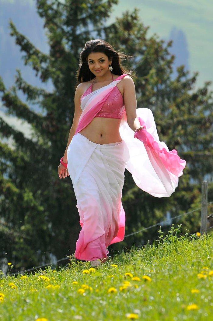 kajal agarwal veera saree navel actress waist stills low indian cleavage south hip telugu american kjl agerval posted am uma