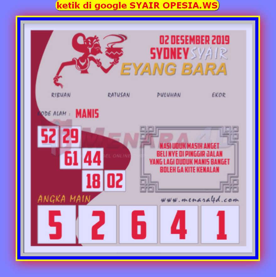 Kode syair Sydney Senin 2 Desember 2019 118