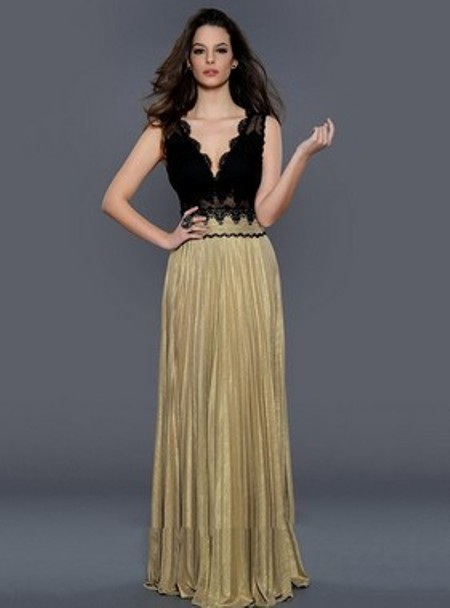 Floor-length V-neck Silk-like Satin Appliques Lace Best Open Back Evening Dresses -Price: $170.19 ( 53.0% OFF)