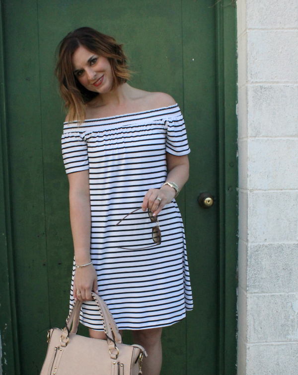 off the shoulder striped dress, target style, style on a budget, spring style