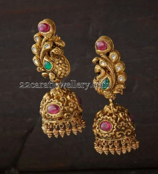 Jhumkas in Diamonds and Gold