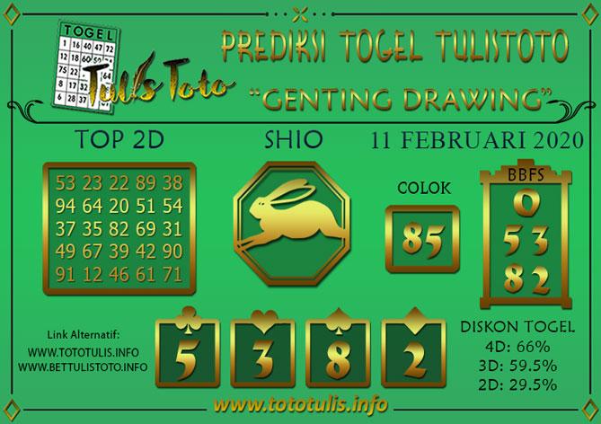 Prediksi Togel GENTING DRAWING TULISTOTO 11 FEBRUARI 2020