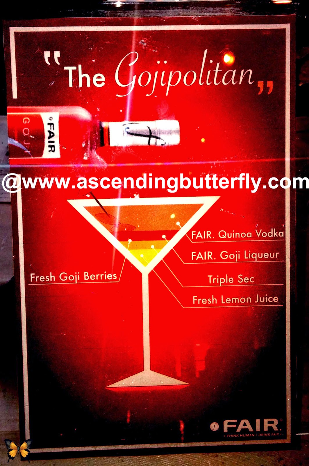 The Gojipolitan Cocktail includes Fresh Goji Berries, FAIR Quinoa Vodka, FAIR Goji Liquer, Triple Sec and Fresh Lemon Juice,