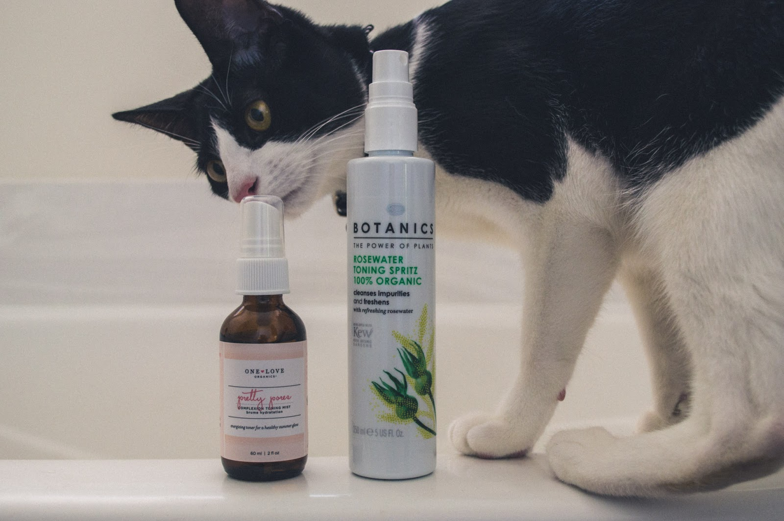 Wedge, cat, smelling One Love Organics Pretty Pore Complexion Toning Mist and Boots Botanics Rosewater Toning Spritz
