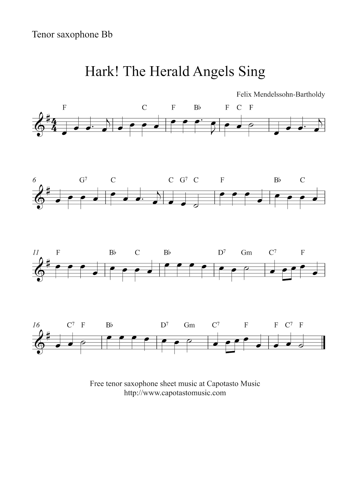 Hark! The Herald Angels Sing | Free Christmas tenor ...