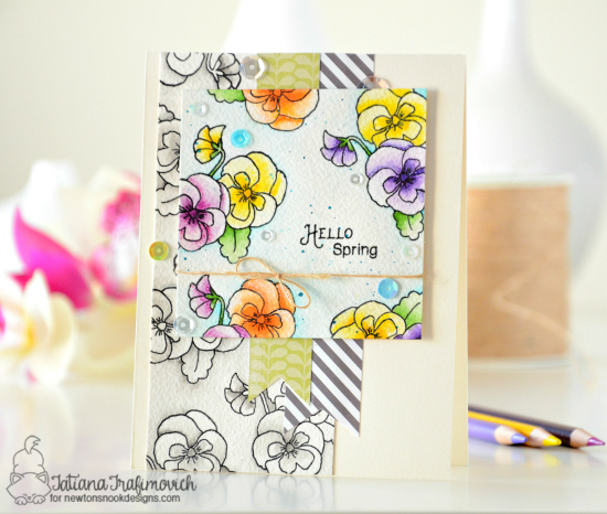 Hello Spring Violet card by Tatiana Trafimovich | Flower Garden Stamp Set by Newton's Nook Designs #newtonsnook