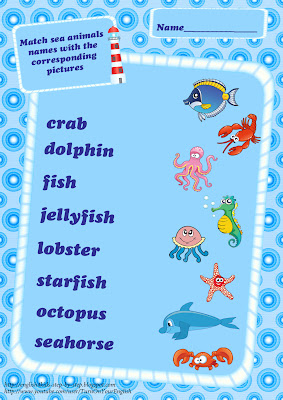 sea animals vocabulary matching activity