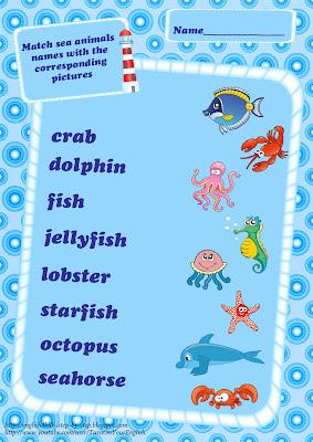 sea animals vocabulary matching activity
