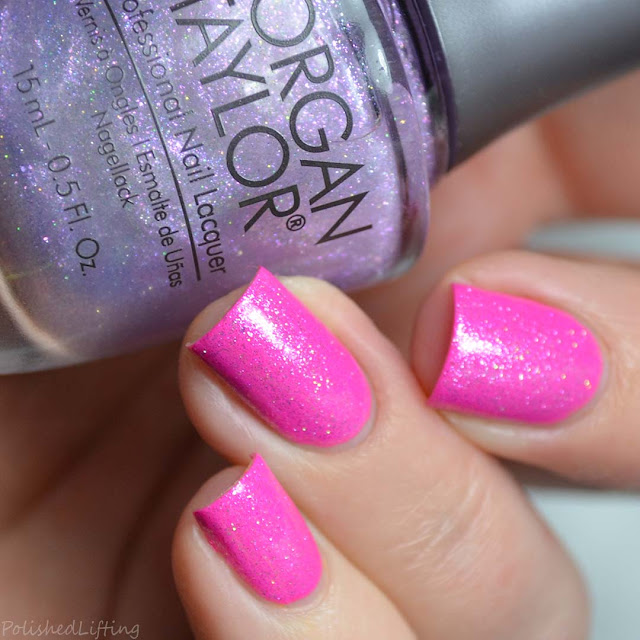 shimmer top coat over neon fuchsia nail polish