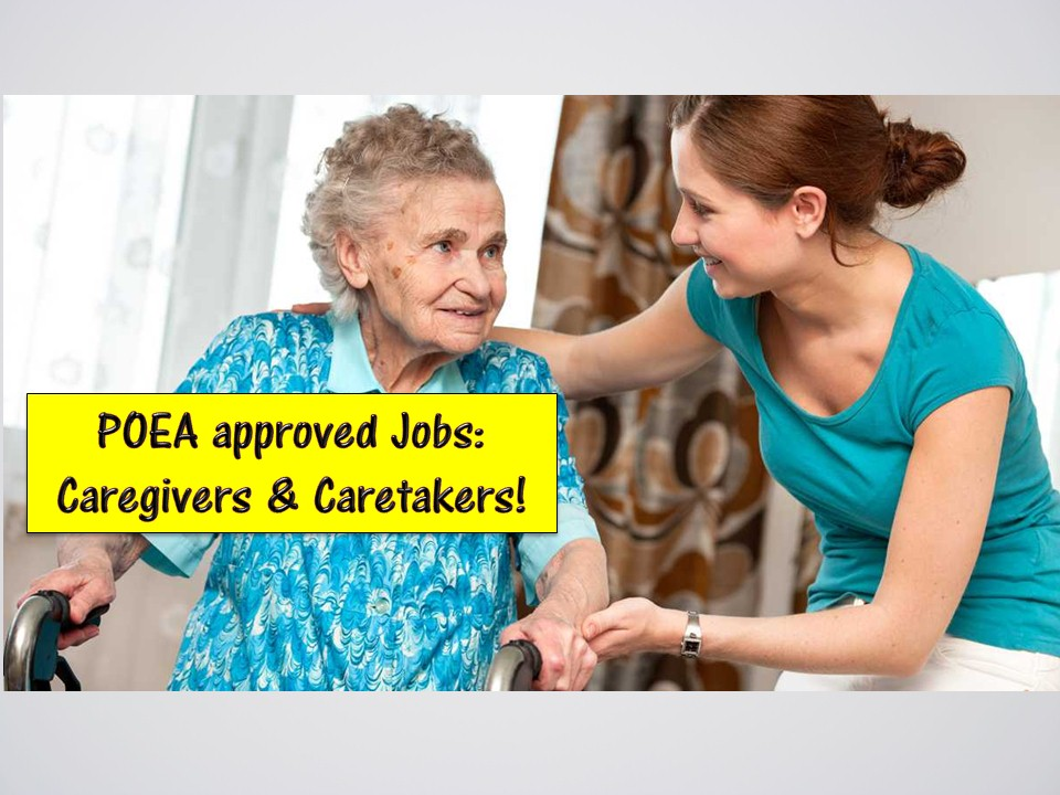 Searching for caregiving or caretaking jobs abroad? If yes then this post is for you! Countries like Canada and Israel is now hiring for Filipino caregivers while Taiwan is in need of hundreds of caretakers!  Here's the list of job orders from the Philippine Overseas Employment Administration (POEA) for you to consider!  Jbsolis.com is NOT a recruitment agency and we are NOT processing nor accepting applications for jobs abroad. All information in this article is taken from the website of POEA — www.poea.gov.ph for general purposes only. Recruitment agencies are being linked to each job orders so that interested applicants may know where to coordinate and apply for their desired position.  Interested applicant may double-check the job orders as well as the licensed of the hiring recruitment agencies in the POEA website to make sure everything is legal.