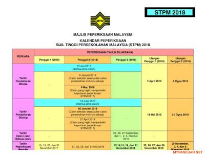 Kalendar Peperiksaan Sijil Tinggi Persekolahan Malaysia STPM 2018