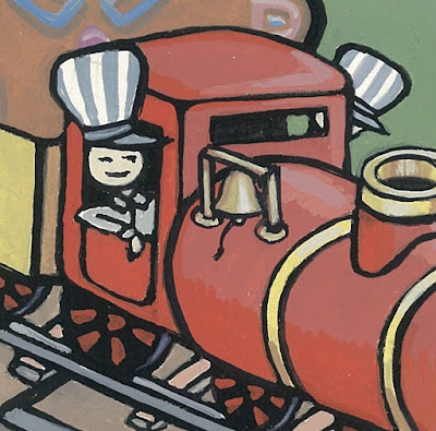 Train ride detail, gouache painting by Alisa Perks