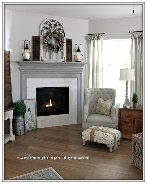 Farmhouse Fireplace-DIY-Fireplace Painted-Dorian Gray-From My Front Porch To Yours