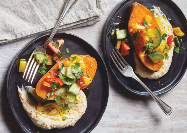 SWEET POTATO, WHITE BEAN HUMMUS, AND ISRAELI SALAD