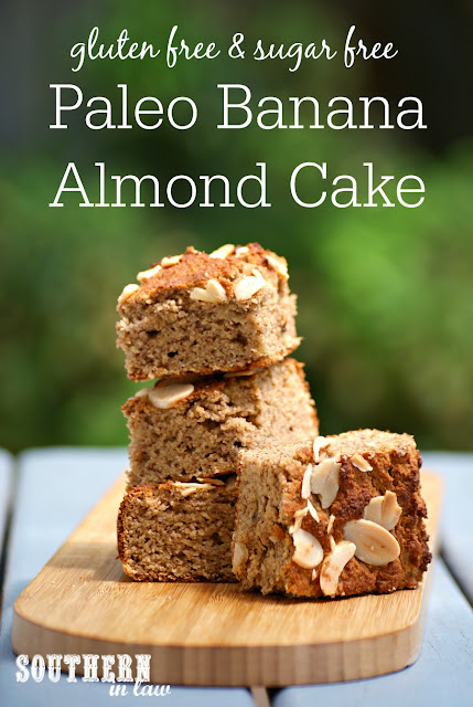 Easy Paleo Banana Almond Cake Recipe - low fat, gluten free, grain free, dairy free, sugar free, healthy, paleo, low carb, flourless, clean eating recipe