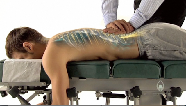 blog picture of young man getting a chiropractic adjustment