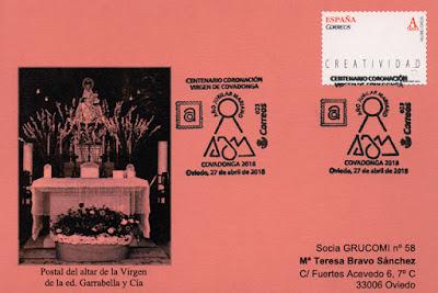 Tarjeta con el matasellos del Centenario de la Coronación de la Santina en el Centro Asturiano de Oviedo
