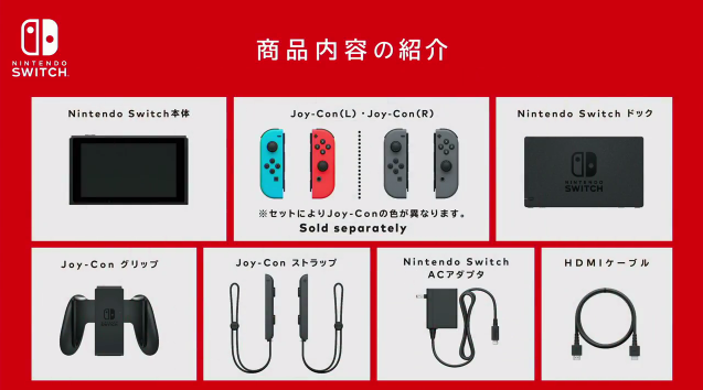 Nintendo Switch Product Configuration Dock console Joy-Con grip AC adapter HDMI cable wrist straps