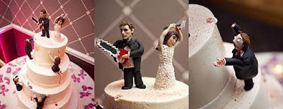 Lustige ausgefallene Hochzeitstorte mit Zombies