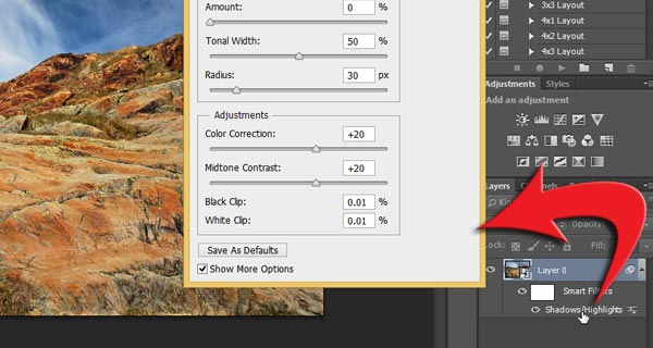 Double click Shadow/Highlights below Smart Object thumbnail in Layers panel