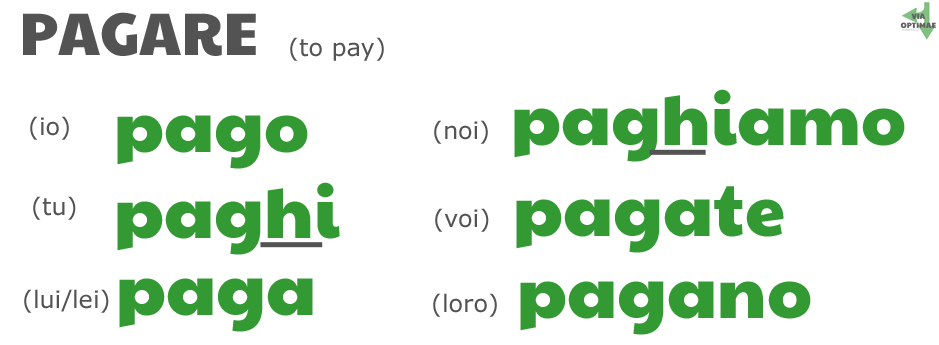 pago, paghi, page, paghiamo, pagate, pagano: PAGARE in the simple present tense conjugation table showing spell change by ab for Via Optimae, www.viaoptimae.com