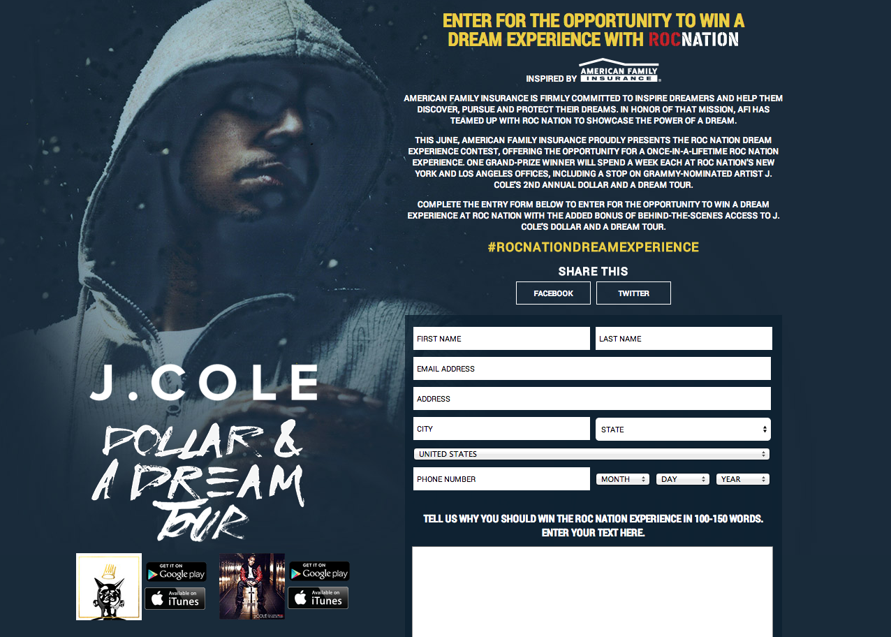 http://www.jcolemusic.com/us/rocnationdreamexperience