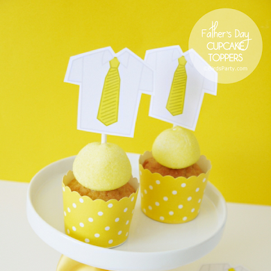 Free Father's Day Printable Shirt & Tie Cupcake Toppers