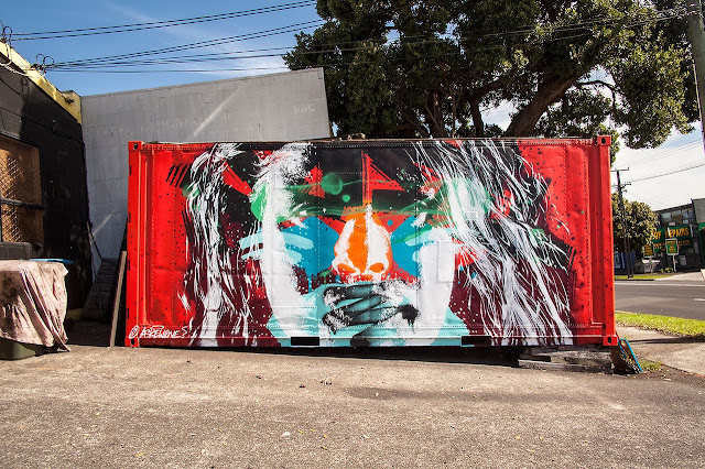 """Mani"" New Street Art Portrait By Askew One On the streets of Onehunga, New Zealand. 1"