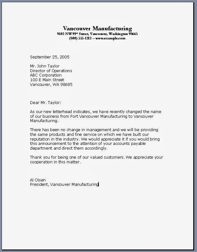 formal business letter format ~ Business Letter Format