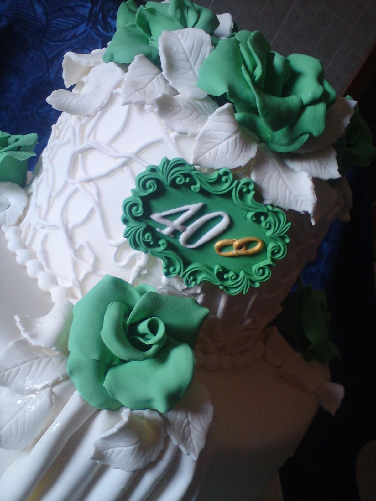 I Dolci Doni Di Natascia Cake Anniversario 40 Anni Nozze Smeraldo