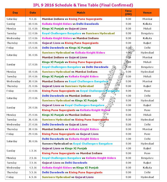 IPL 9 2016 Schedule & Time Table (Final Confirmed),Indian Primer League Vivo 9 2016 Schedule Best Table Time,vivo 9 2016 Schedule image,schedule IPL 9 2016 fixture,IPL 9 Schedule time table,IPL 9 2016 Schedule teams,IPL 9 2016 Schedule places,IPL 9 2016 Schedule matches,2016 ipl schedule,ipl9 match schedule,t20 cricket,cricket,ipl9 2016 match timing,ipl schedule 2016,ipl 2016 schedule,Mumbai Indians,Rising Pune Supergiants,Kings XI Punjab,Gujarat LionsVivo IPL 9 2016 Schedule, Fixture & full Time table  Mumbai Indians, Rising Pune Supergiants, Kolkata Knight Riders, Delhi Daredevils, Kings XI Punjab, Gujarat Lions, Royal Challengers Bangalore, Sunrisers Hyderabad