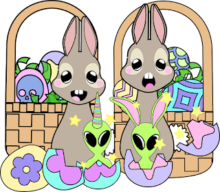 A cartoon depicting two rabbits with Easter egg baskets and two little aliens hatching from eggs.