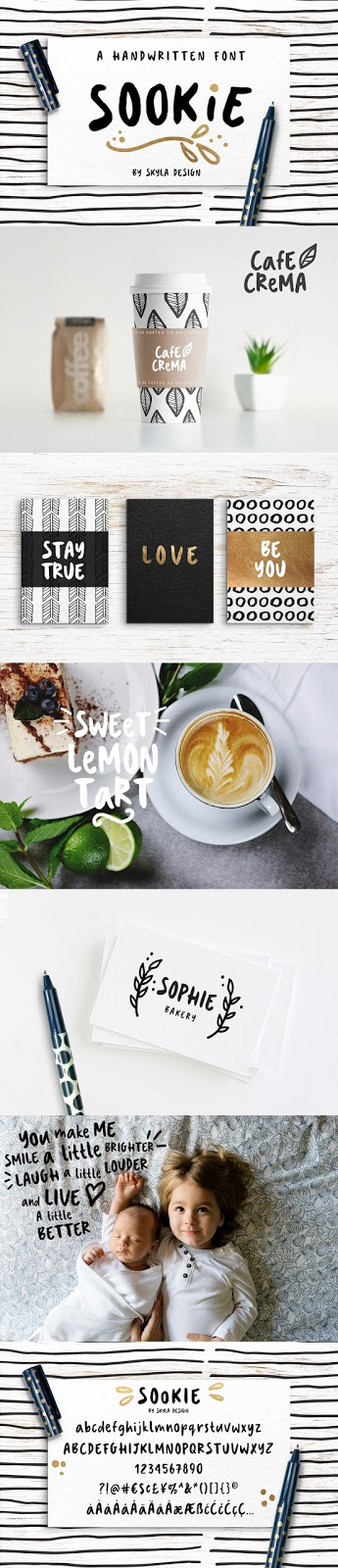 Cute handwritten font, Sookie by Skyla Design