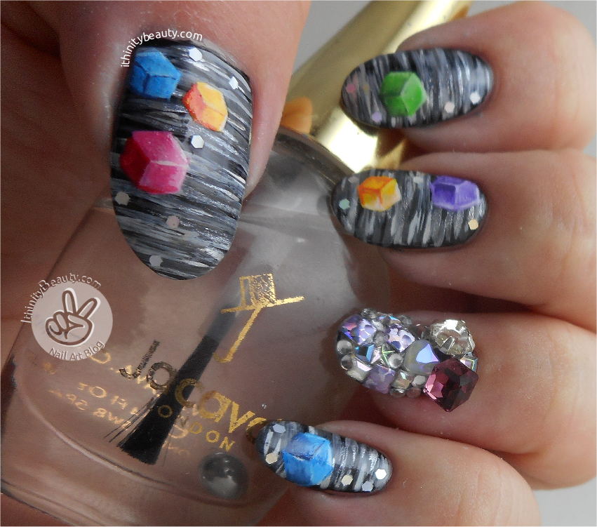 Freehand 2D & 3D Cubes | IthinityBeauty.com Nail Art Blog