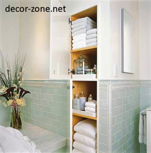 bathroom niches for towel storage ideas