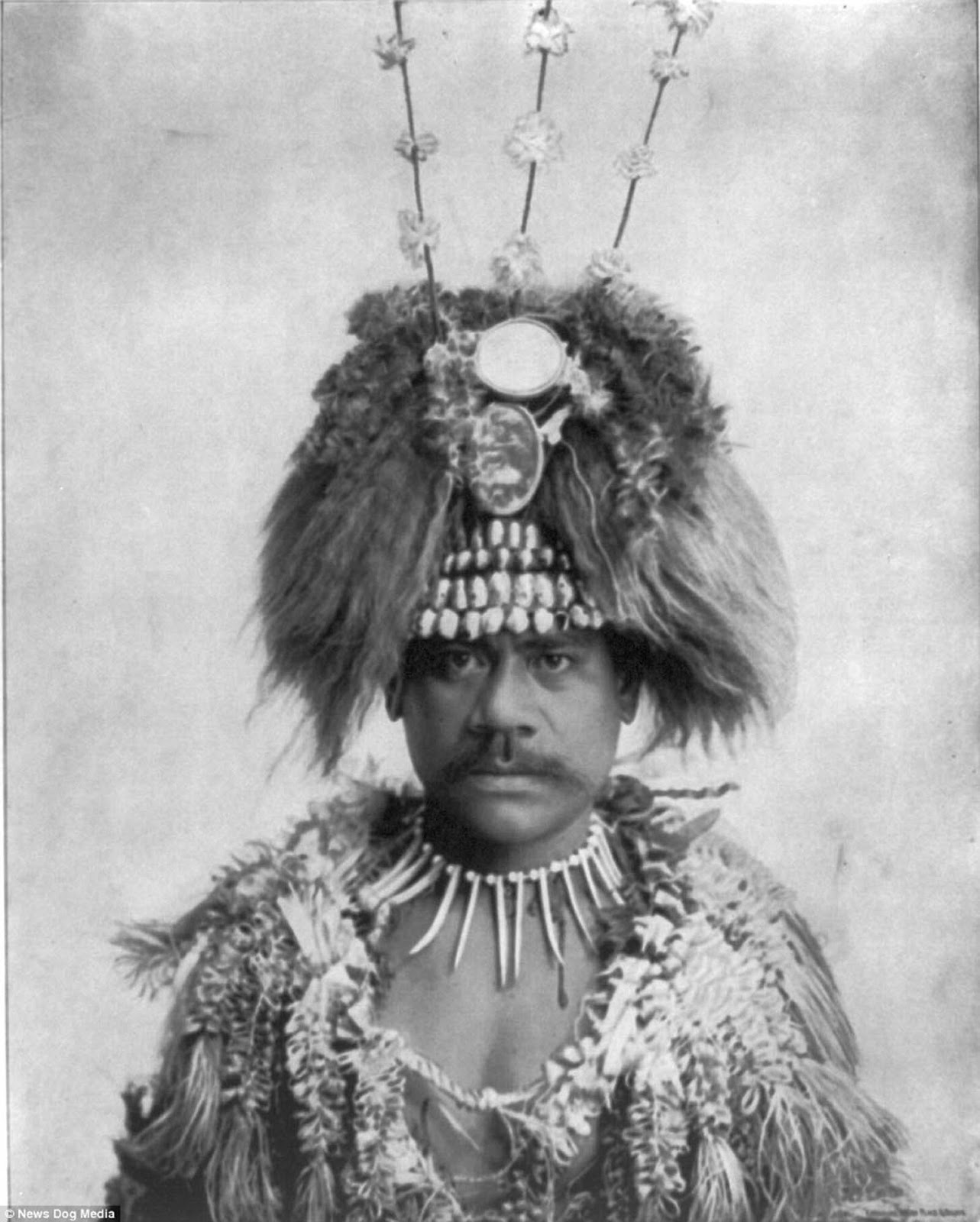 A head and shoulders photo shows a man in native headgear and dress at the World's Columbian Exposition in Chicago, Illinois in about 1893.