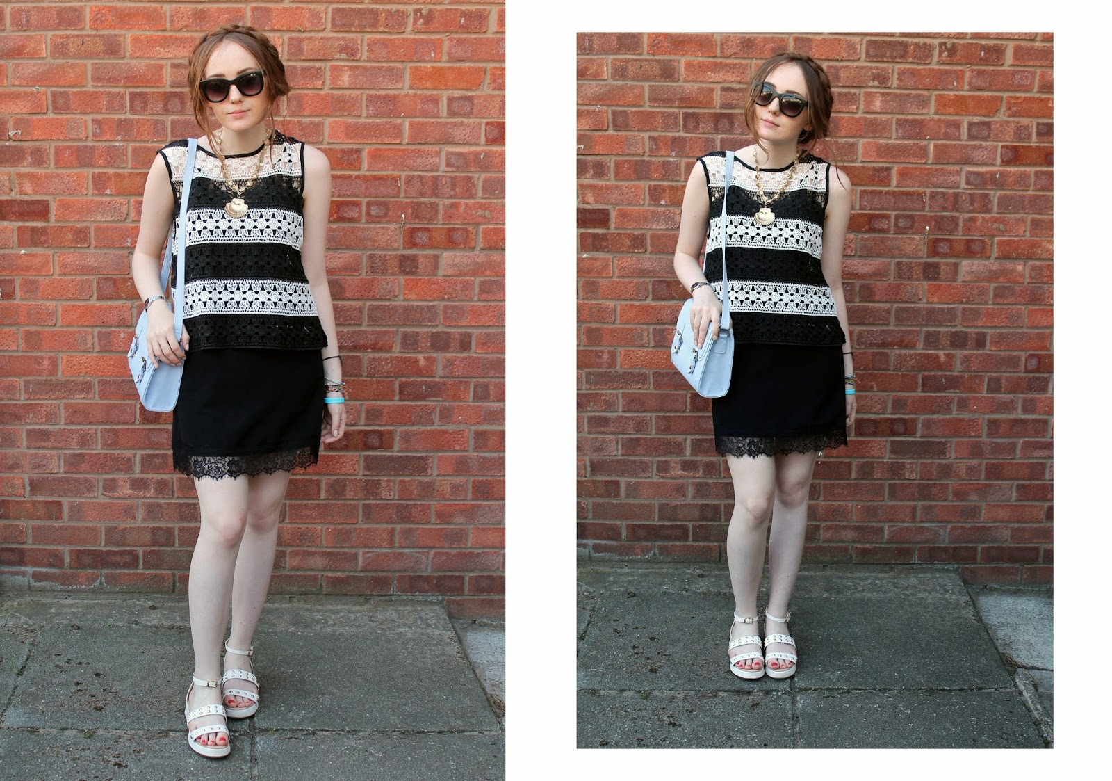 monochrome crochet top worn layered over a black slip dress with white studded sandals, asos pastel satchel and primark sunglasses