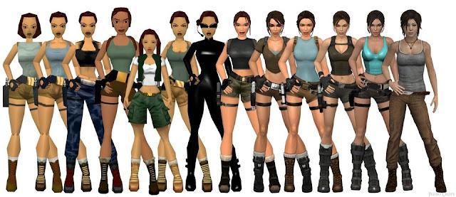 Figurino Tomb Raider game , Lara croft  mudança, evolução