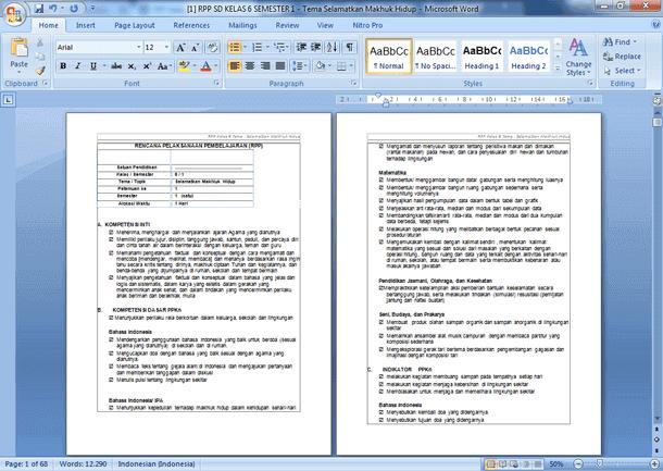 Contoh RPP Kelas 6 Semester 1 Kurikulum 2013 Revisi 2019-2020