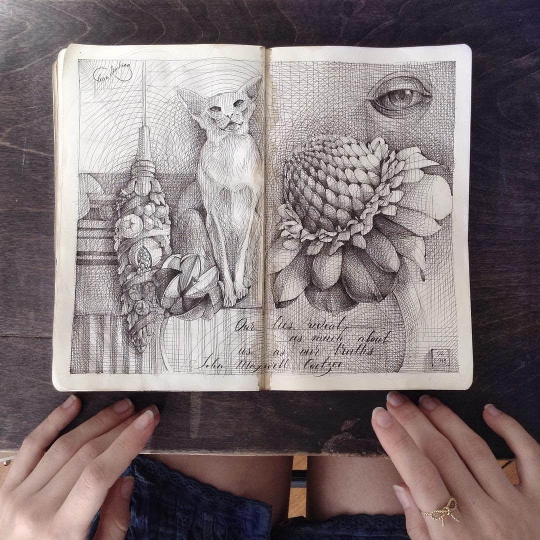 09-Flowers-Lena-Limkina-Intricate-Moleskine-Drawings-with-Cats-www-designstack-co
