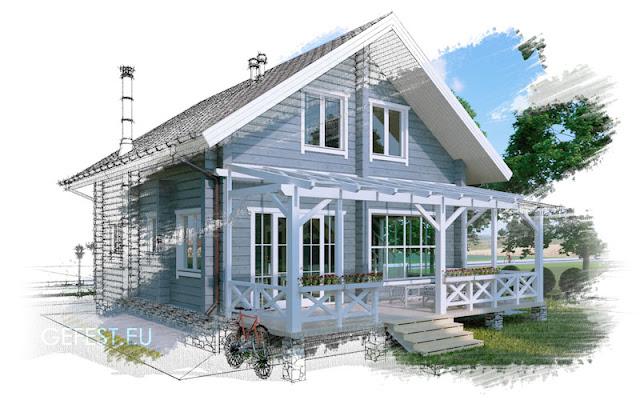 Дом из бруса в скандинавском стиле площадью 108 м2