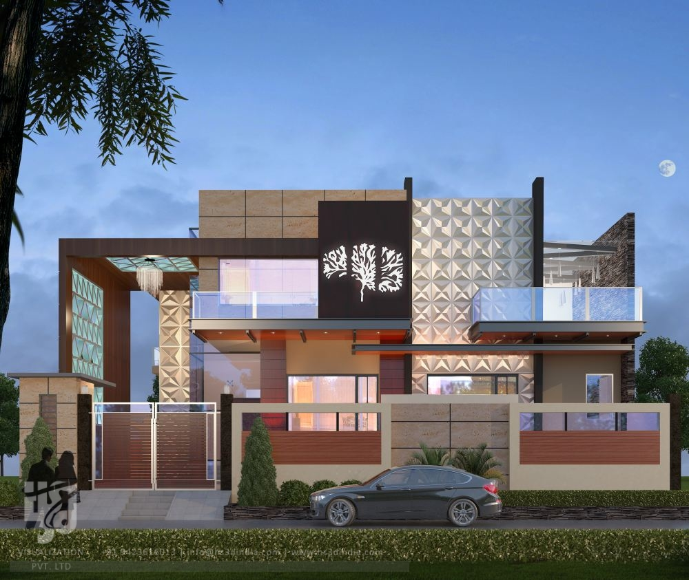 3d architectural visualization 3d exterior night rendering for Modern bungalow elevation