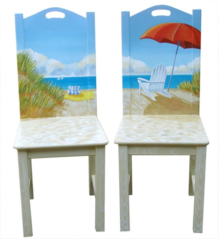 Painted Beach Art Chairs - Coastal Decor Ideas and ...